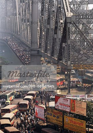 Rush Hour Over Howrah Bridge, Calcutta, India