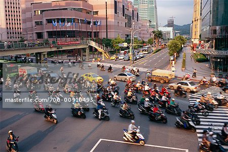 Mopeds Crossing Street, Taipei, Taiwan Stock Photo - Rights-Managed, Image code: 700-00910493