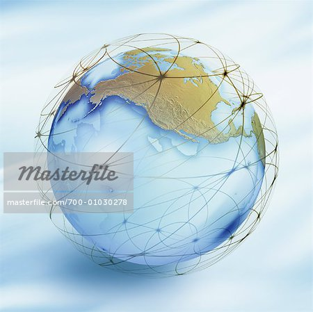 World Globe with Connection Lines Stock Photo - Rights-Managed, Image code: 700-01030278
