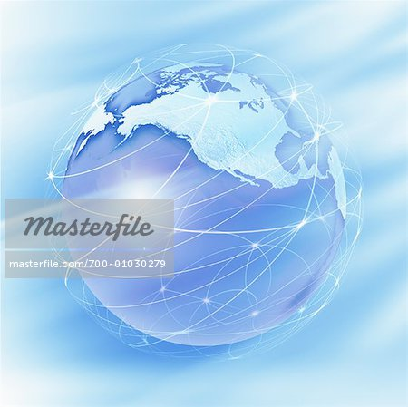 World Globe with Connection Lines Stock Photo - Rights-Managed, Image code: 700-01030279