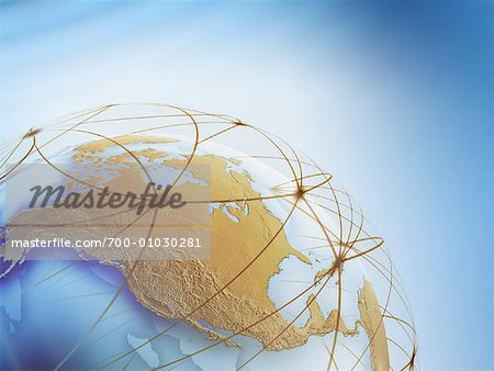 World Globe with Connection Lines Stock Photo - Rights-Managed, Image code: 700-01030281