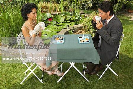 Couple Having Dinner Outdoors