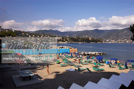 Private Beach on the Mediterranean Sea, Santa Margherita, Italy Stock Photo - Rights-Managed, Image code: 700-01124389