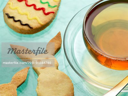 Easter Cookies and Cup of Tea