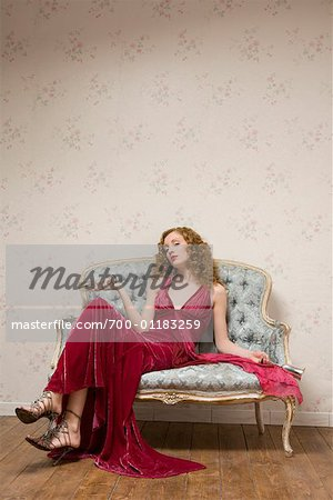 Woman on Sofa Stock Photo - Rights-Managed, Image code: 700-01183259