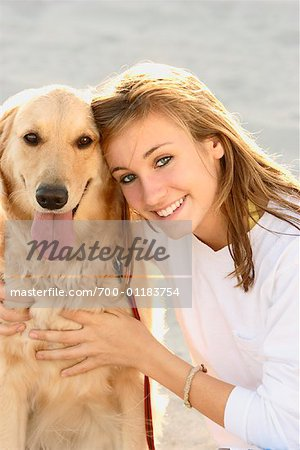 Portrait of Girl with Dog Stock Photo - Rights-Managed, Image code: 700-01183754