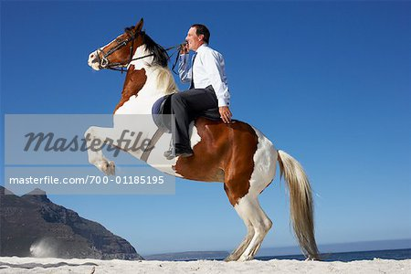 Horse Rearing with Businessman on Its Back Stock Photo - Rights-Managed, Image code: 700-01185195