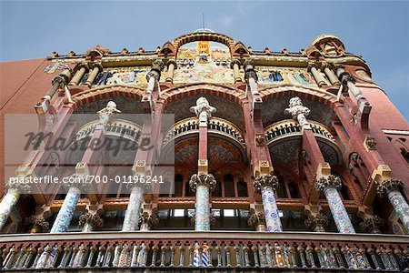 Facade of Palau de la Musica Catalana, Barcelona, Spain