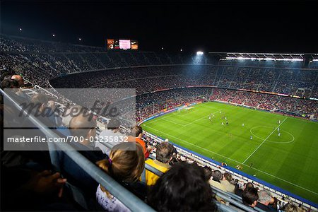 Crowd Watching Soccer Game, Nou Camp Stadium, Barcelona, Spain