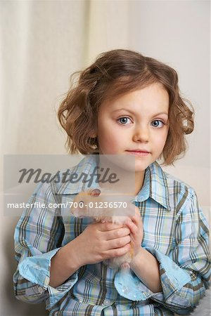 Portrait of Girl with Hamster Stock Photo - Rights-Managed, Image code: 700-01236570