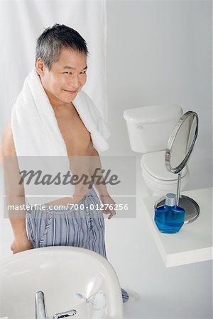 Portrait of Man in Bathroom Stock Photo - Rights-Managed, Image code: 700-01276256