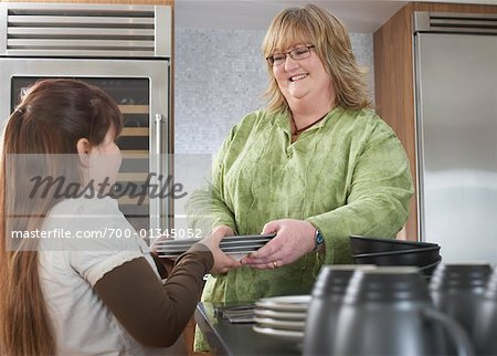 Girl Helping Mother with Dishes Stock Photo - Rights-Managed, Image code: 700-01345052