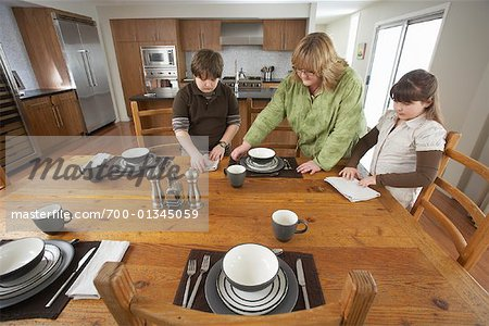 Mother and Children Setting Table Stock Photo - Rights-Managed, Image code: 700-01345059