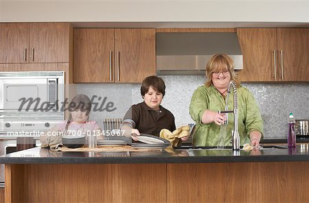 Mother and Children Washing Dishes Stock Photo - Rights-Managed, Image code: 700-01345067