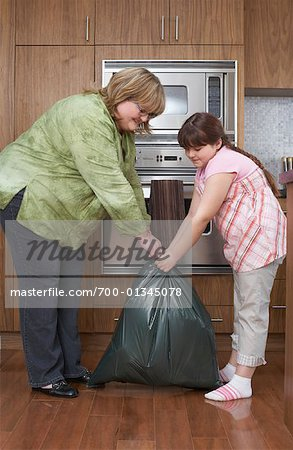 Mother and Daughter with Garbage Bag in Kitchen Stock Photo - Rights-Managed, Image code: 700-01345078