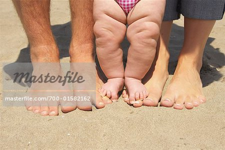 Mother, Father and Child's Feet At Beach