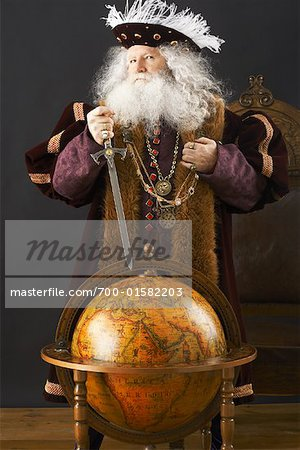 King Standing by Globe Stock Photo - Rights-Managed, Image code: 700-01582203