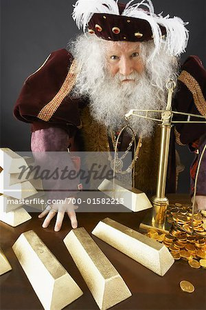 King Weighing Gold Bars