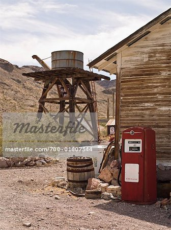 Old Water Tower and Gas Pump, Eldorado Canyon, Nevada, USA Stock Photo - Rights-Managed, Image code: 700-01607344