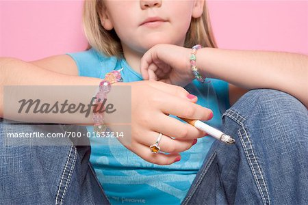 Girl Smoking Cigarette Stock Photo - Rights-Managed, Image code: 700-01633214