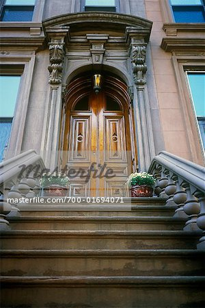 Steps and Front Door of Brownstone, Brooklyn, New York, USA