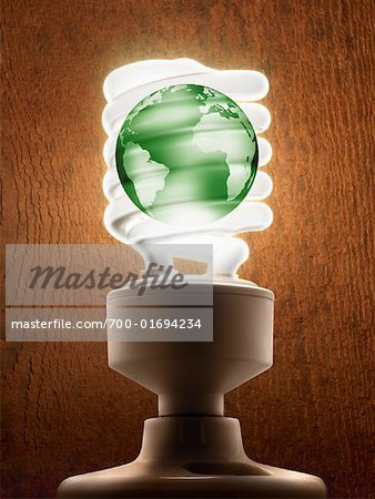 Compact Flourescent Light Bulb with Earth Stock Photo - Rights-Managed, Image code: 700-01694234