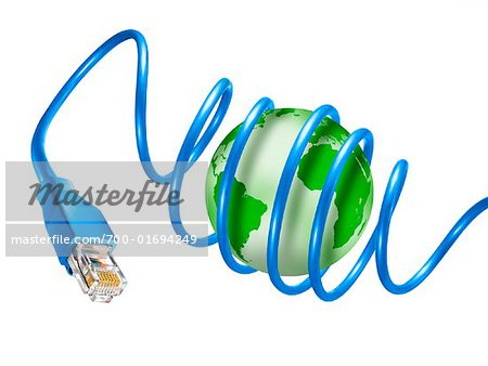 Internet Cable Wrapped Around Globe Stock Photo - Rights-Managed, Image code: 700-01694249