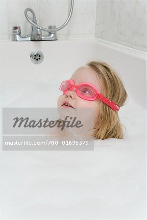 Girl in Tub with Goggles Stock Photo - Rights-Managed, Image code: 700-01695379