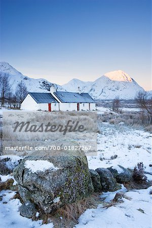 Black Rock Cottage at Dawn, Rannoch Moor, Near Glen Coe, Scotland Stock Photo - Rights-Managed, Image code: 700-01827267