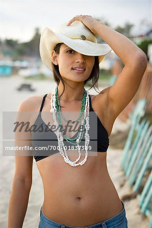Portrait of Woman on the Beach, Crystal Cove, Newport Beach, Orange County, California, USA Stock Photo - Rights-Managed, Image code: 700-01837389