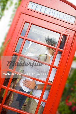 Couple Kissing in Phone Booth, Newport Beach, Orange County, California, USA Stock Photo - Rights-Managed, Image code: 700-01837400