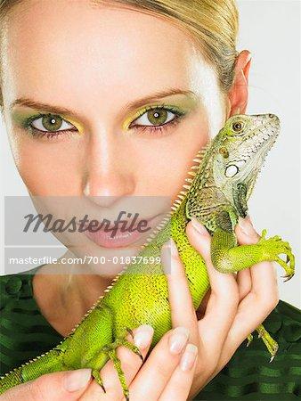 Portrait of Woman With Iguana