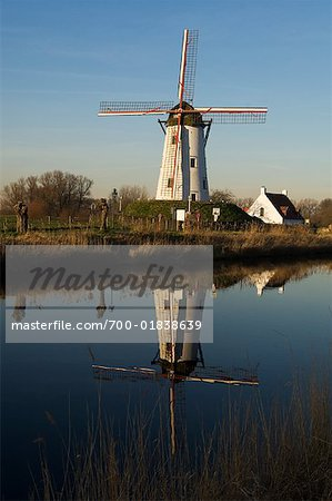 Reflection of Windmill in Canal, Damme, West Flanders, Belgium Stock Photo - Rights-Managed, Image code: 700-01838639
