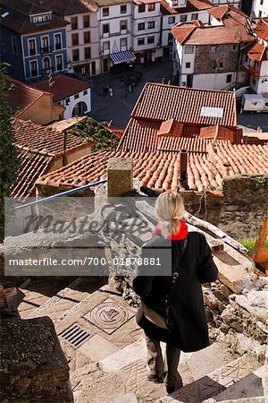 Woman Descending Stairs, Cudillero, Asturias, Spain Stock Photo - Rights-Managed, Image code: 700-01878881