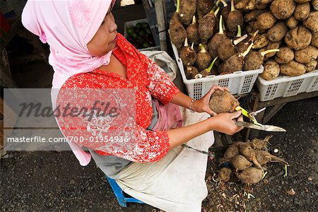 Woman Preparing Taro Root at, Market, Central Java, Java, Indonesia Stock Photo - Rights-Managed, Image code: 700-01954936