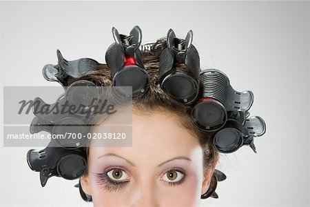 Portrait of Woman With Hair in Rollers Stock Photo - Rights-Managed, Image code: 700-02038120