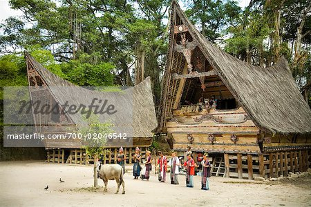 Traditional Dance by Traditional Buildings, Samosir Island, Sumatra, Indonesia Stock Photo - Rights-Managed, Image code: 700-02046542