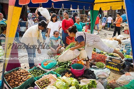 Fruit and Vegetable Stand at Market, Porsea, Sumatra, Indonesia Stock Photo - Rights-Managed, Image code: 700-02046565