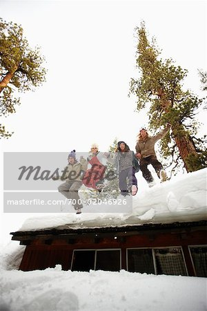 Women Jumping off Roof of Cabin Stock Photo - Rights-Managed, Image code: 700-02046926