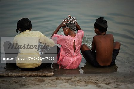 Children Bathing in River, Ganges River, Varanasi, India