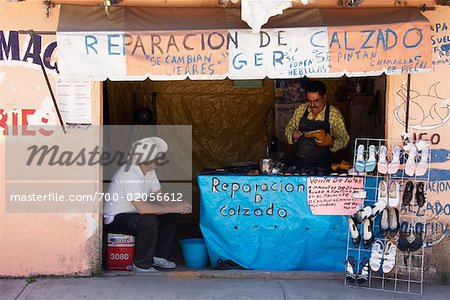 Shoe Repair Kiosk, Zitacuaro, Michoacan, Mexico Stock Photo - Rights-Managed, Image code: 700-02056612