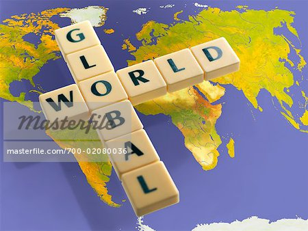 Word Tiles Over World Map Stock Photo - Rights-Managed, Image code: 700-02080036