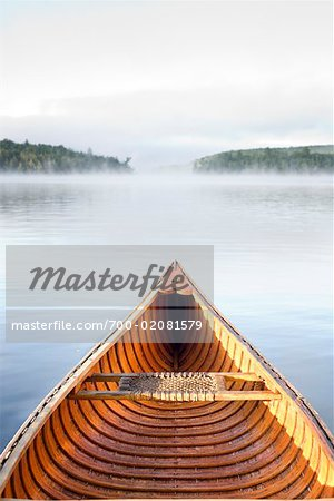 Cedar Strip Canoe on Haliburton Lake, Ontario, Canada Stock Photo - Rights-Managed, Image code: 700-02081579