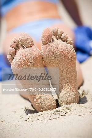 Woman's Sandy Feet on the Beach, San Clemente, Newport Beach, Orange County, Southern California, California, USA Stock Photo - Rights-Managed, Image code: 700-02081933