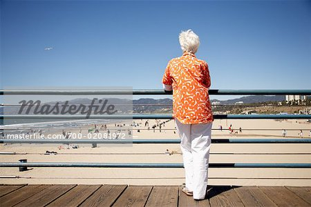 Woman on Boardwalk at the Beach, Santa Monica Pier, Santa Monica, California, USA Stock Photo - Rights-Managed, Image code: 700-02081972