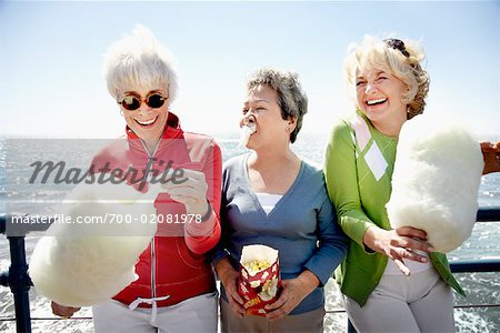 Women Eating Cotton Candy, Santa Monica Pier, Santa Monica, California, USA Stock Photo - Rights-Managed, Image code: 700-02081978