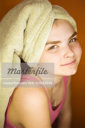 Portrait of Girl With Towel Wrapped Around Hair Stock Photo - Rights-Managed, Image code: 700-02082095