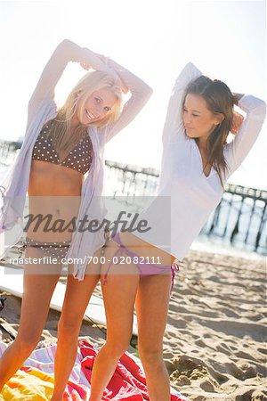 Women Dancing on Beach, Newport Beach, California, USA