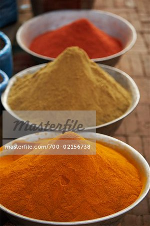 Spices in Bowls, Kathmandu, Nepal Stock Photo - Rights-Managed, Image code: 700-02156738