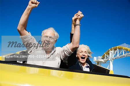 Couple on Roller Coaster, Santa Monica, California, USA Stock Photo - Rights-Managed, Image code: 700-02156947